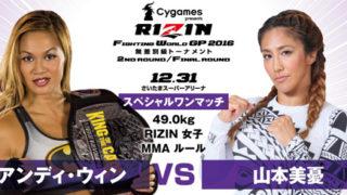 【アンケート】RIZIN12.31 「アンディ・ウィン vs. 山本美憂」、「RENA vs. ハンナ・タイソン」勝敗予想